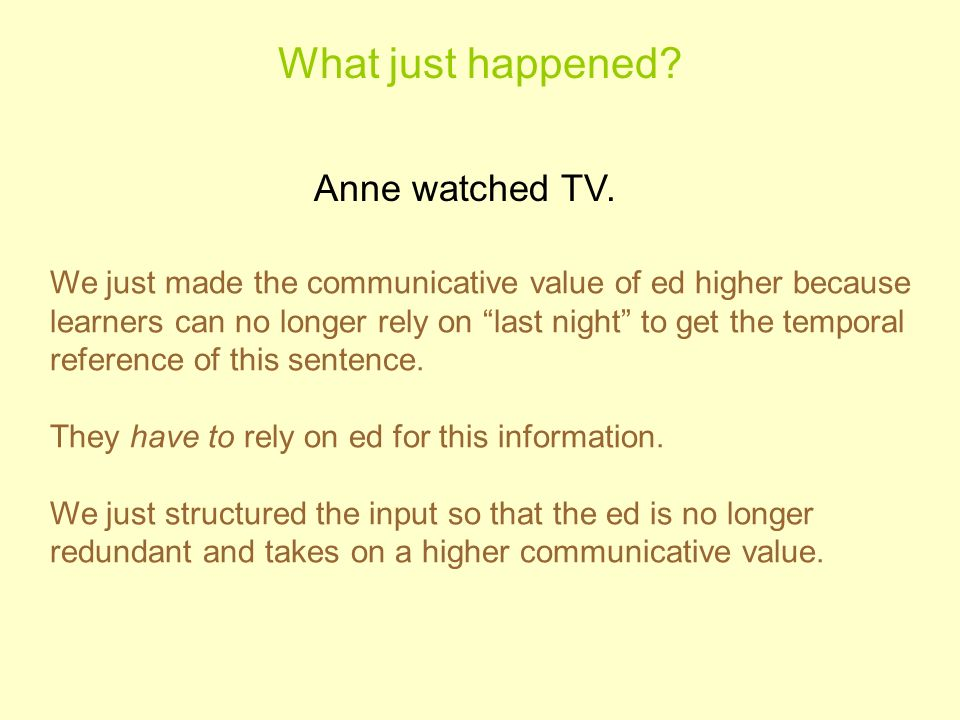 What just happened Anne watched TV.