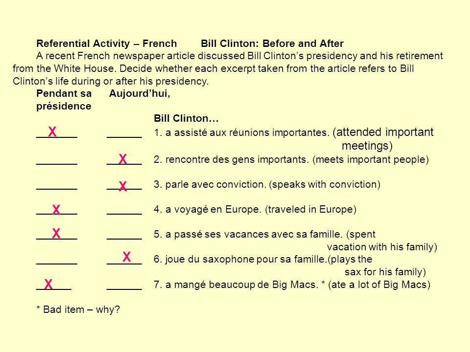 Referential Activity – French Bill Clinton: Before and After