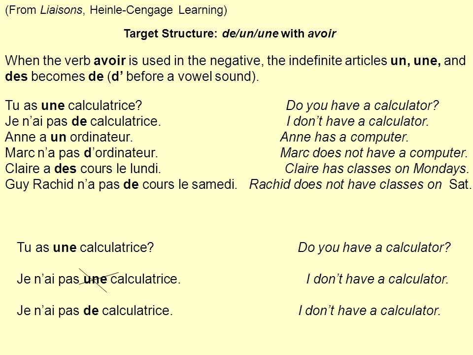 Tu as une calculatrice Do you have a calculator