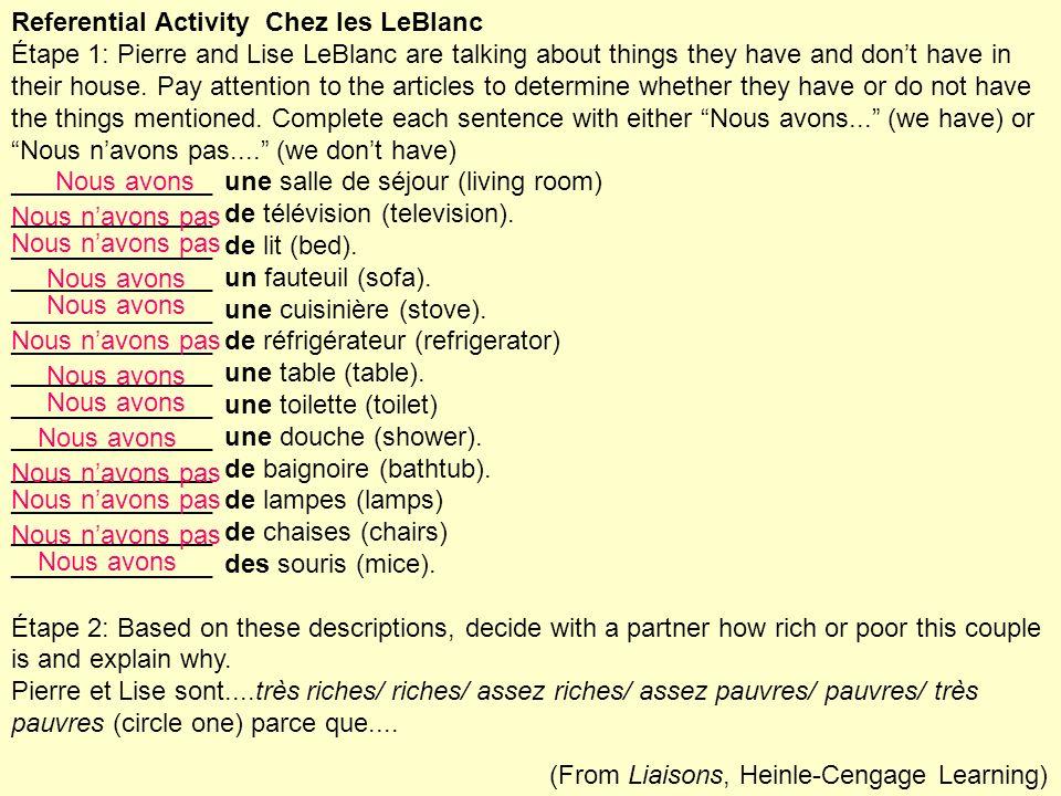 Referential Activity Chez les LeBlanc