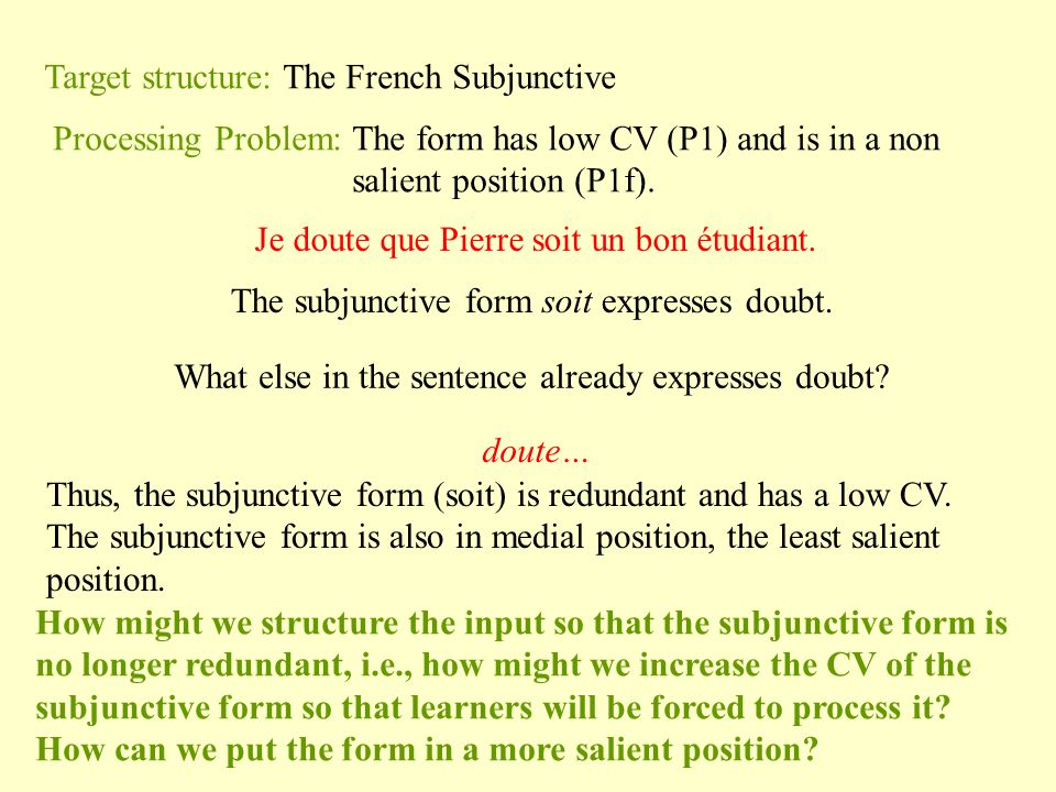Target structure: The French Subjunctive