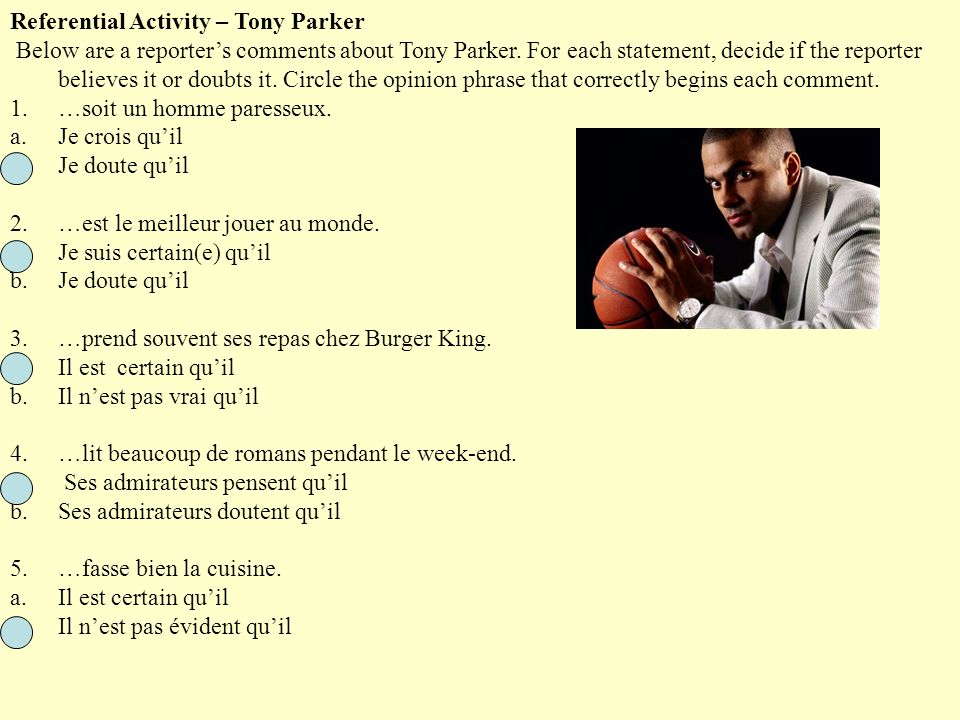 Referential Activity – Tony Parker
