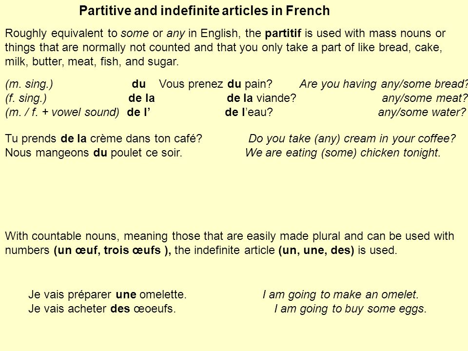 Partitive and indefinite articles in French
