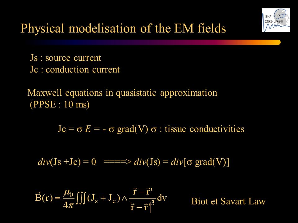 Physical modelisation of the EM fields