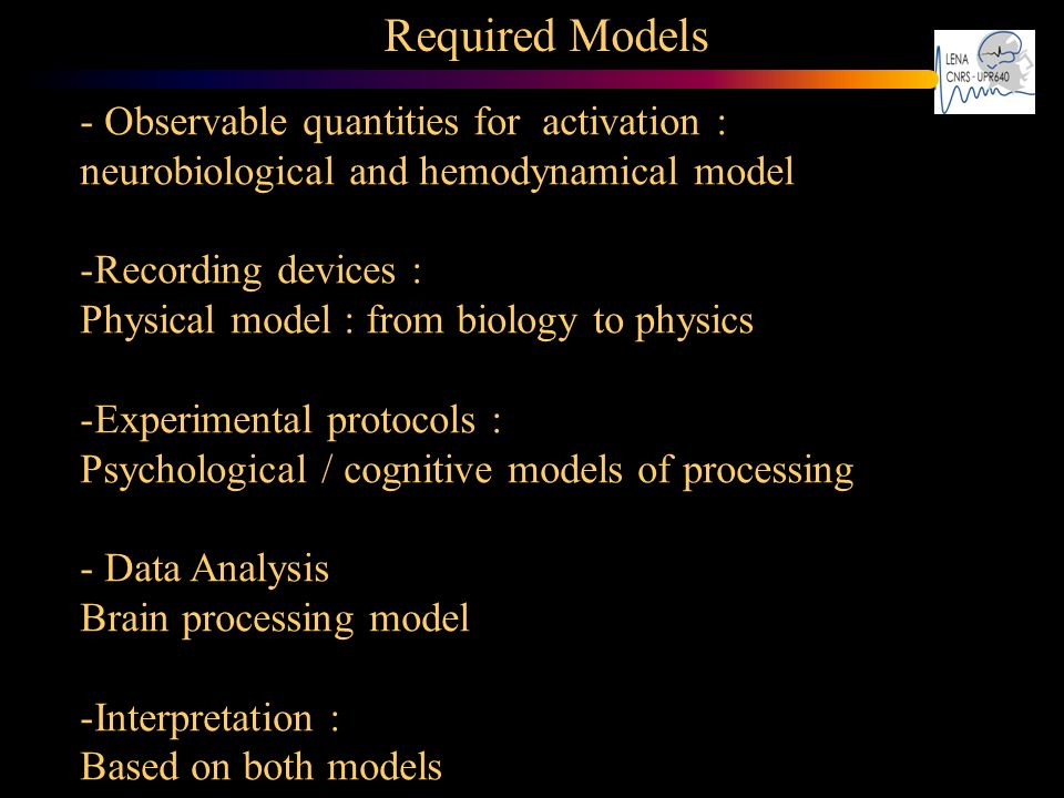 Required Models - Observable quantities for activation : neurobiological and hemodynamical model. Recording devices :
