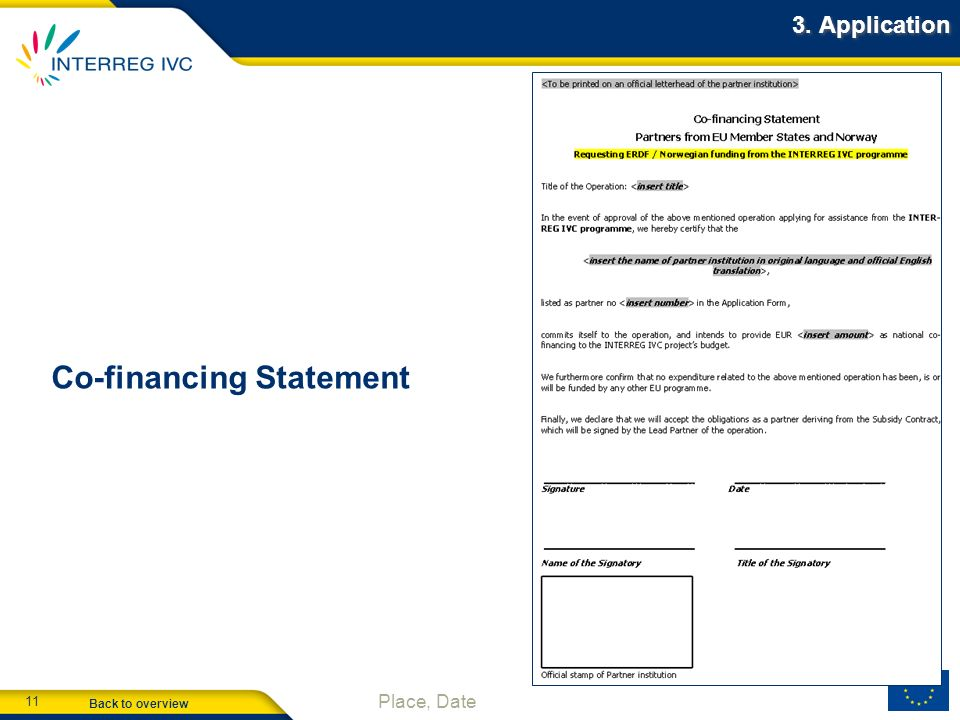 Co-financing Statement
