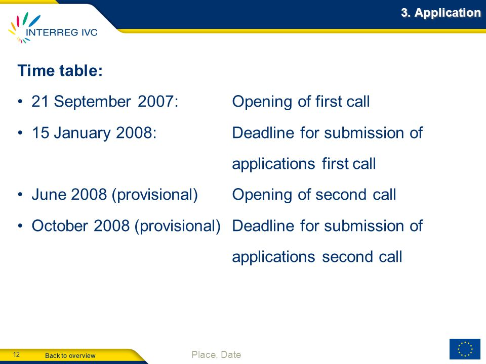 21 September 2007: Opening of first call