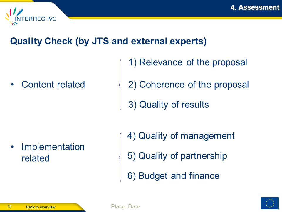 Quality Check (by JTS and external experts)