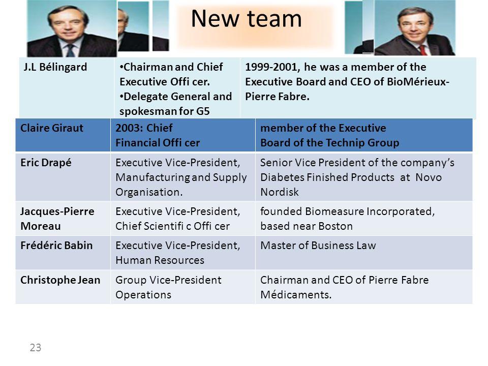 New team J.L Bélingard Chairman and Chief Executive Offi cer.