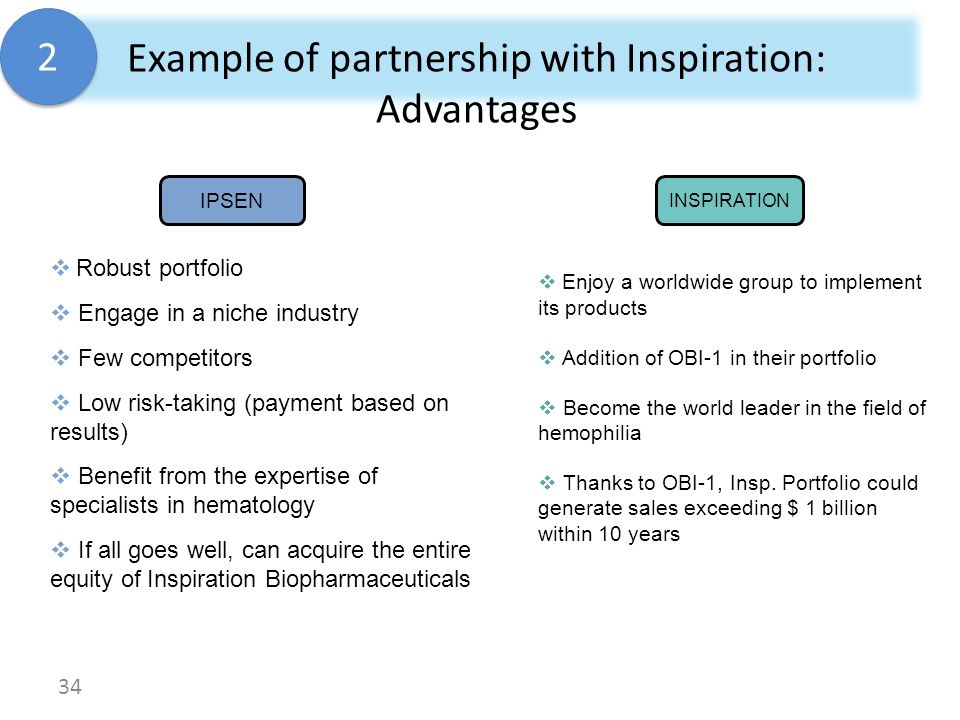 Example of partnership with Inspiration: Advantages