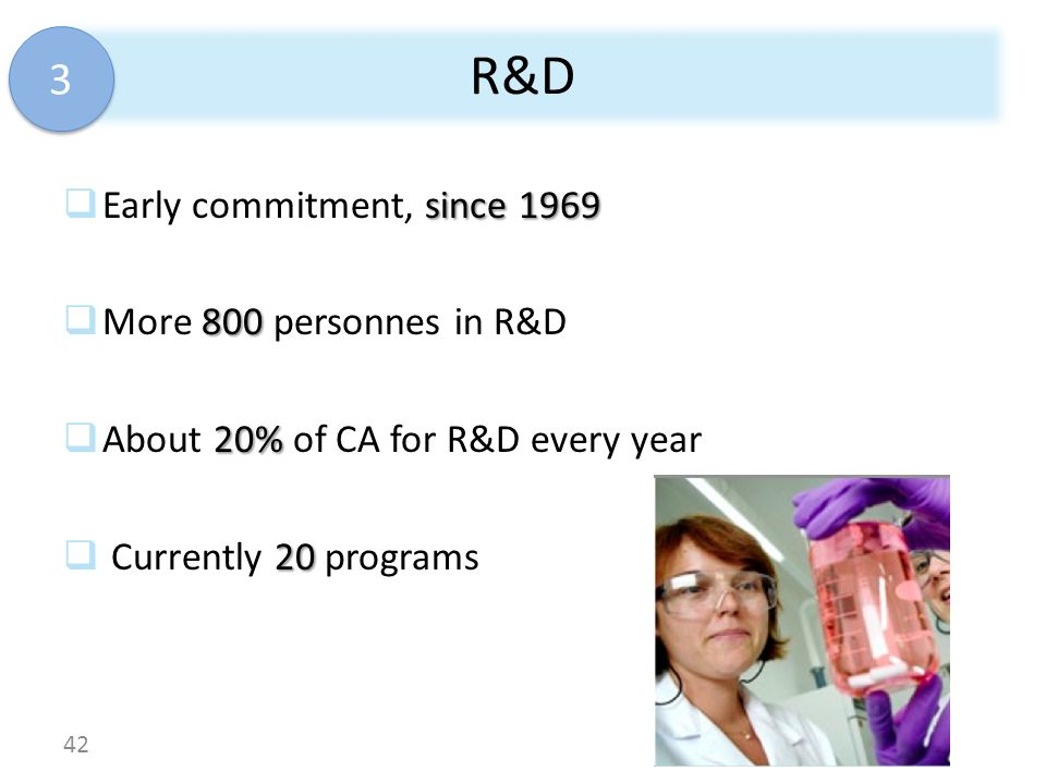 R&D 3 Early commitment, since 1969 More 800 personnes in R&D