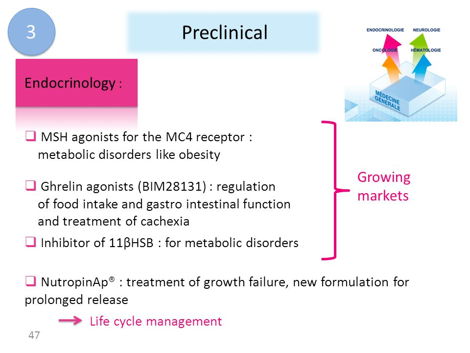 3 Preclinical Endocrinology : Growing markets
