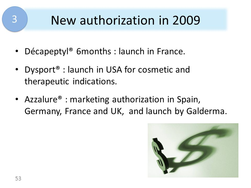 New authorization in 2009 3 Décapeptyl® 6months : launch in France.
