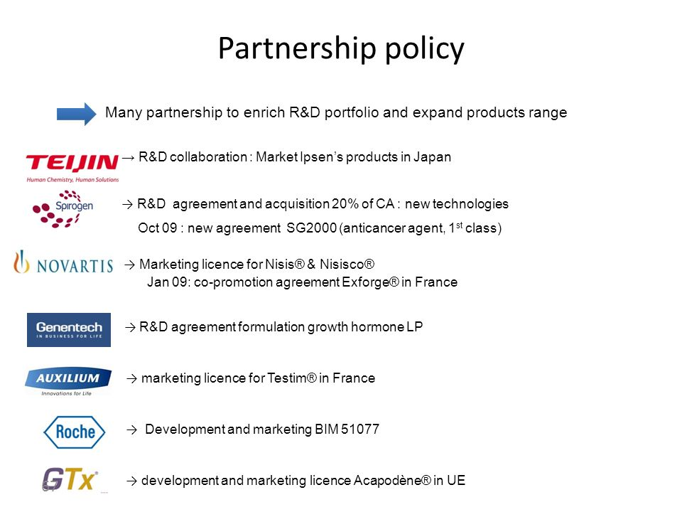 Partnership policy Many partnership to enrich R&D portfolio and expand products range. → R&D collaboration : Market Ipsen's products in Japan.