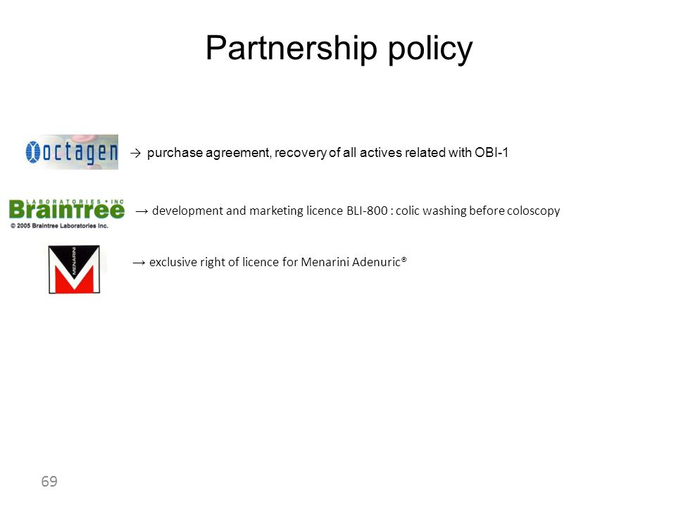 Partnership policy → purchase agreement, recovery of all actives related with OBI-1.