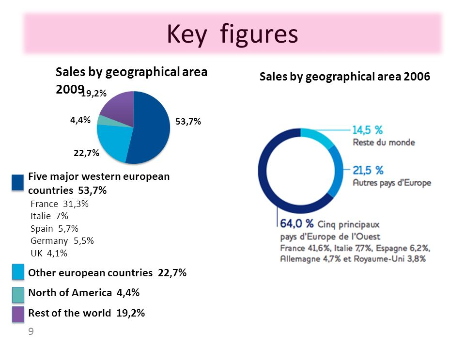 Key figures Sales by geographical area 2006