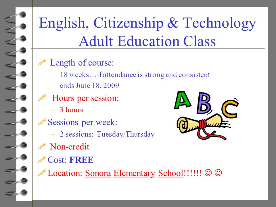 English, Citizenship & Technology Adult Education Class