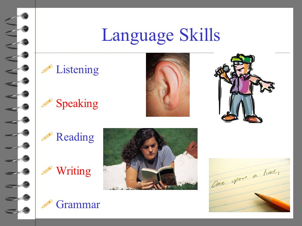 Language Skills Listening Speaking Reading Writing Grammar