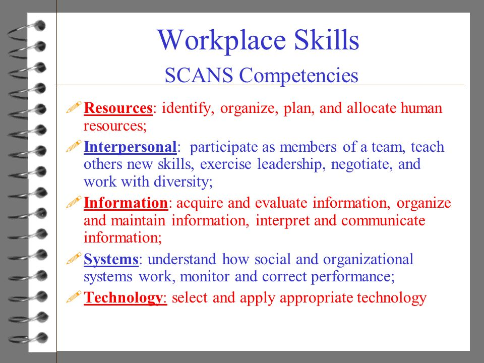 Workplace Skills SCANS Competencies