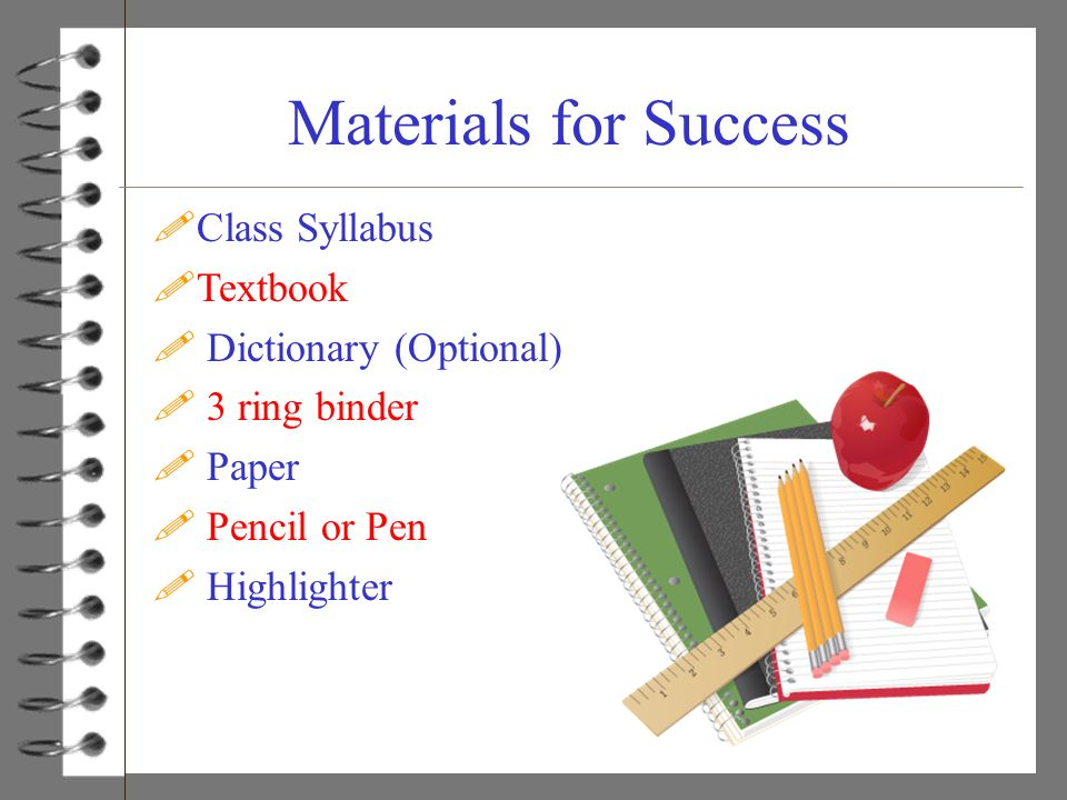 Materials for Success Class Syllabus Textbook Dictionary (Optional)
