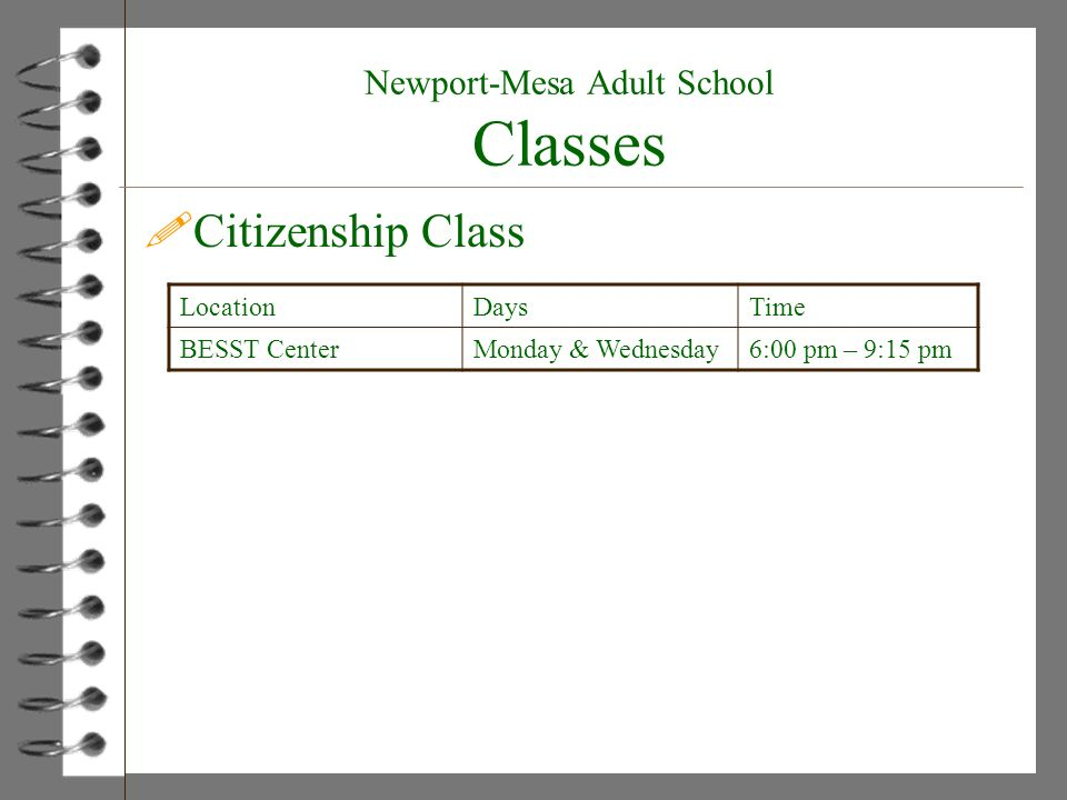Newport-Mesa Adult School Classes