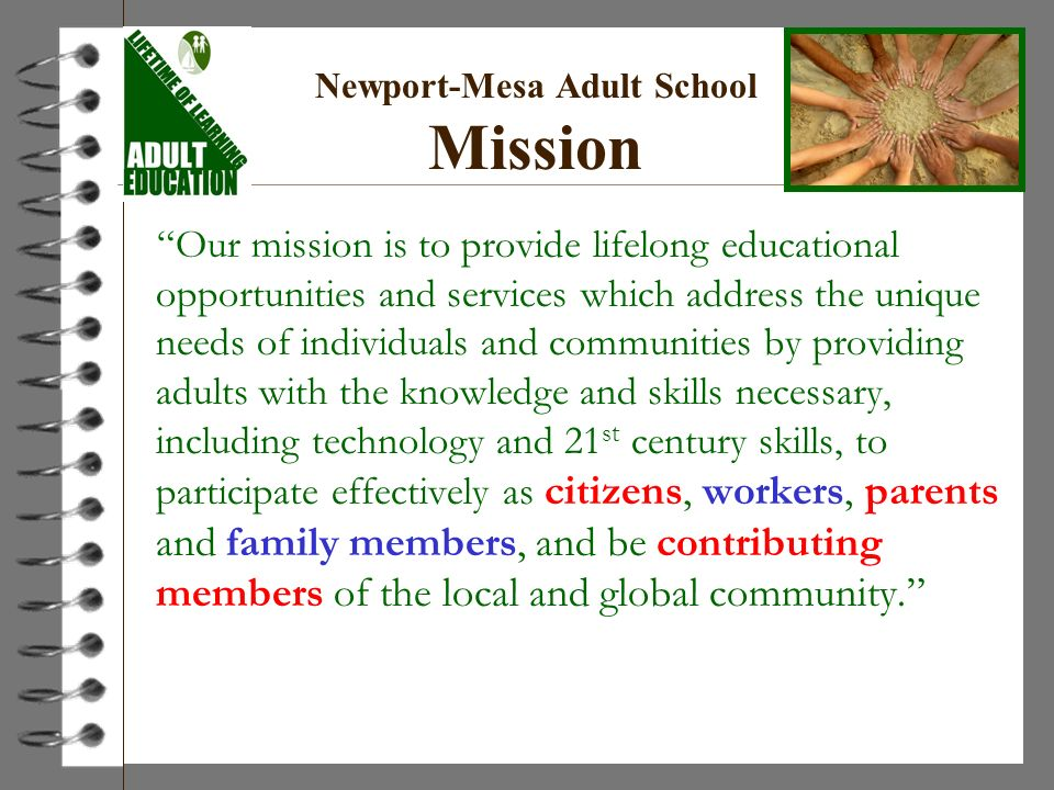 Newport-Mesa Adult School Mission