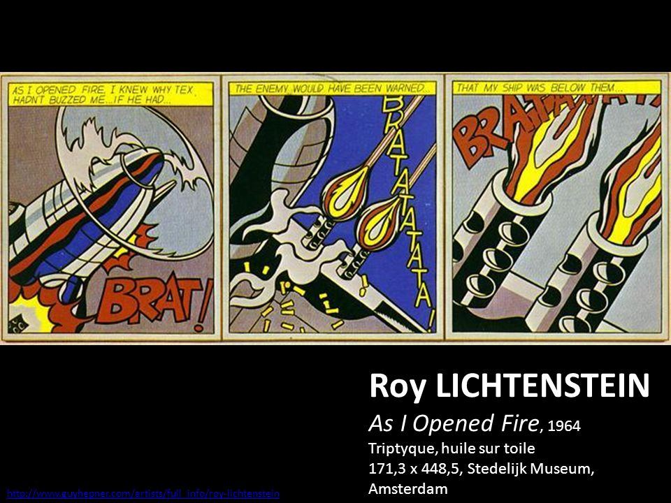 Roy LICHTENSTEIN As I Opened Fire, 1964 Triptyque, huile sur toile