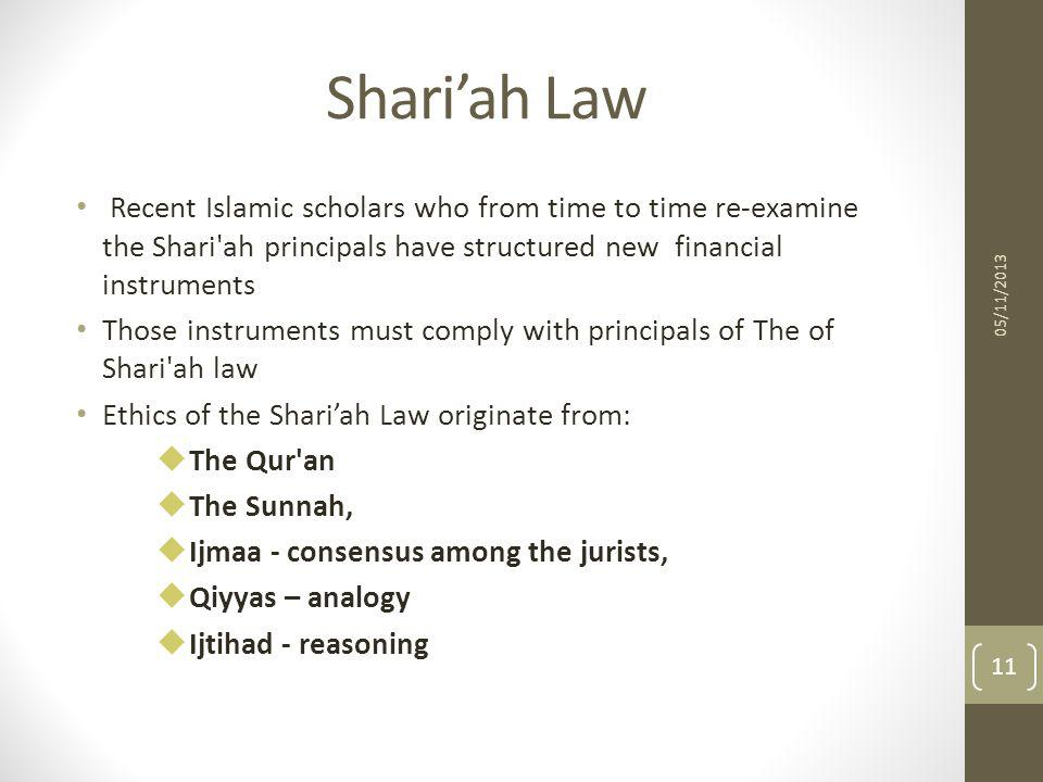 Shari'ah Law Recent Islamic scholars who from time to time re-examine the Shari ah principals have structured new financial instruments.
