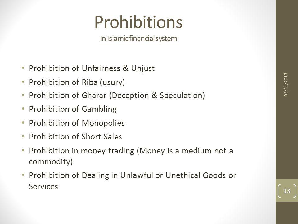 Prohibitions In Islamic financial system
