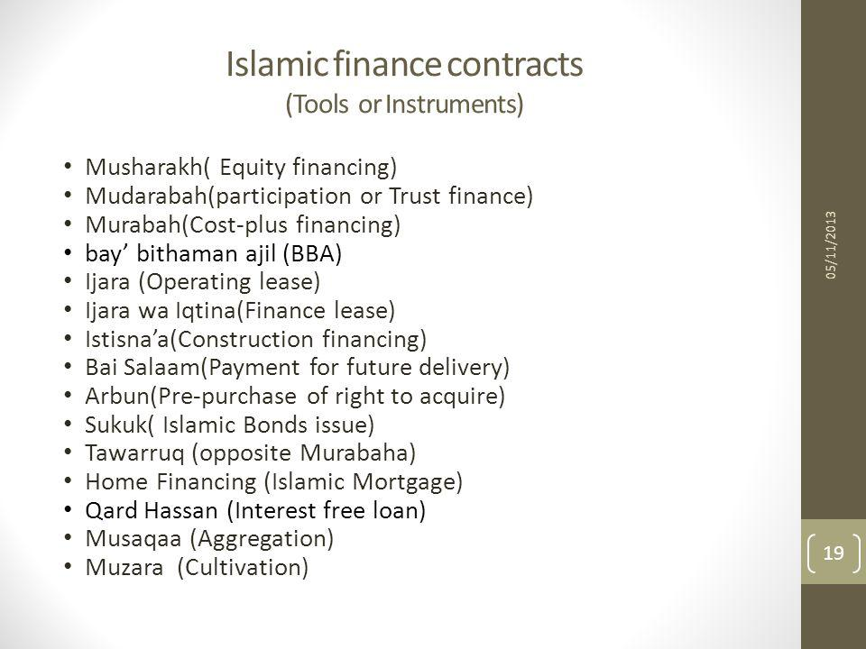 Islamic finance contracts (Tools or Instruments)