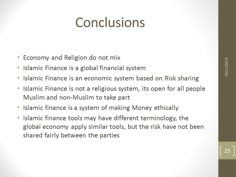 Conclusions Economy and Religion do not mix