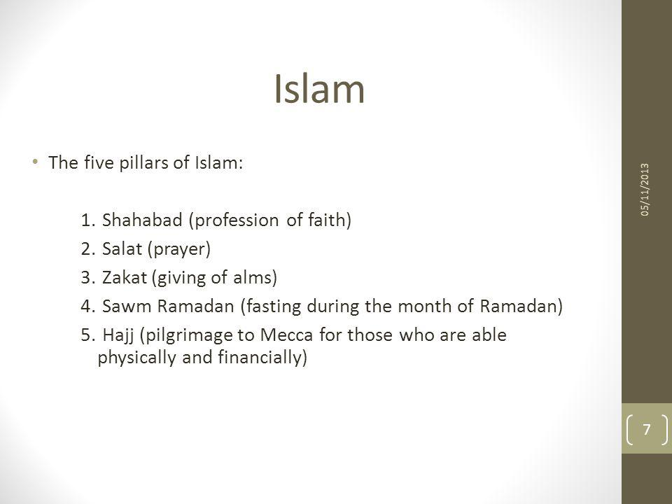 Islam The five pillars of Islam: 1. Shahabad (profession of faith)‏