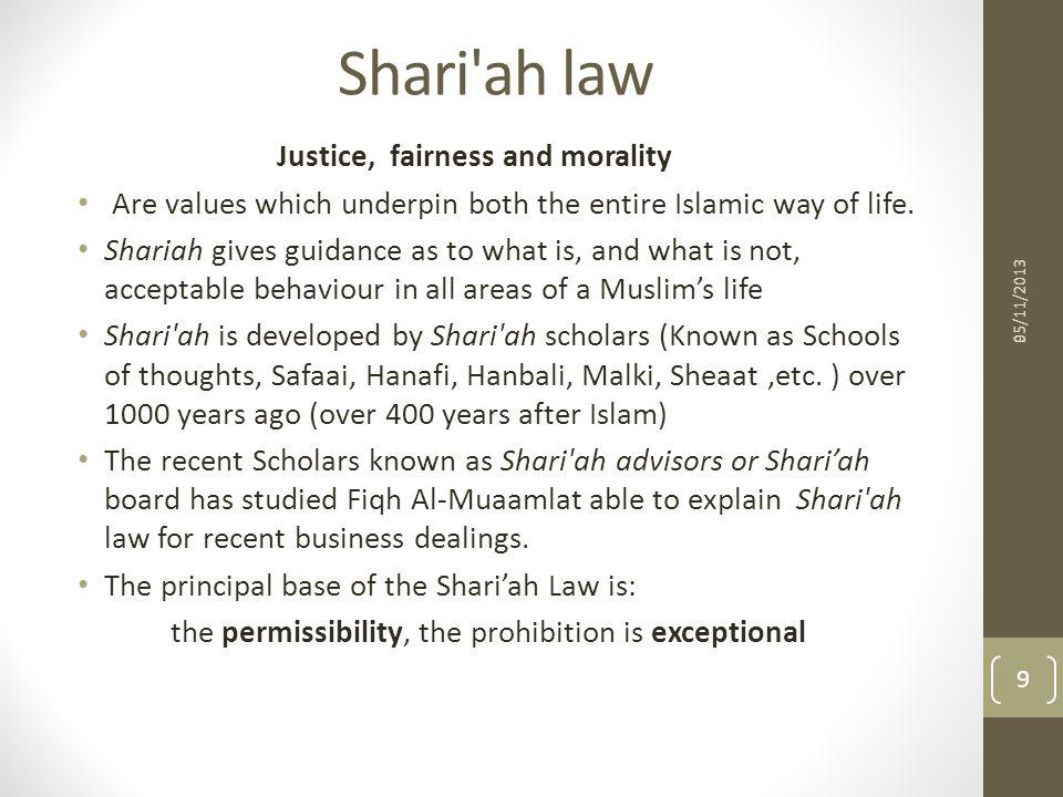 Shari ah law Justice, fairness and morality