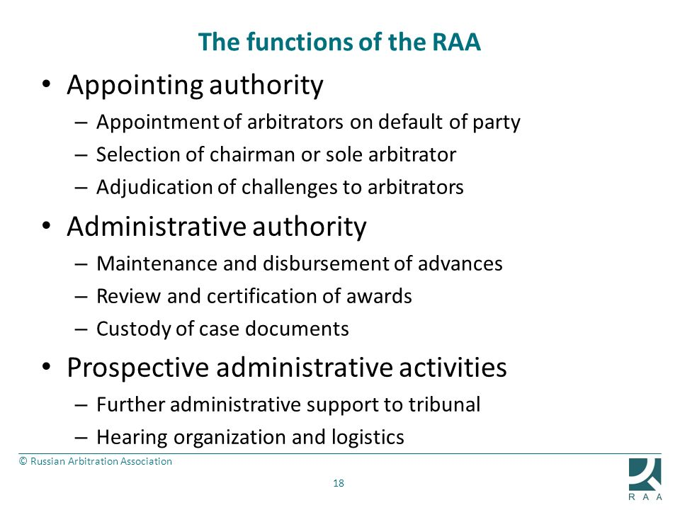 The functions of the RAA