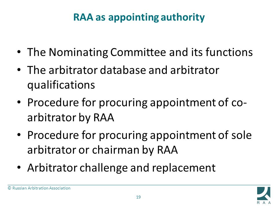 RAA as appointing authority