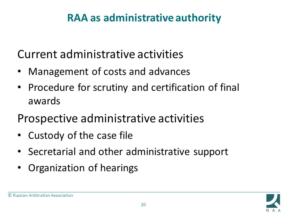 RAA as administrative authority