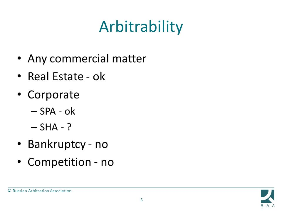 Arbitrability Any commercial matter Real Estate - ok Corporate