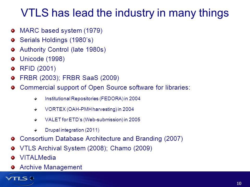 VTLS has lead the industry in many things