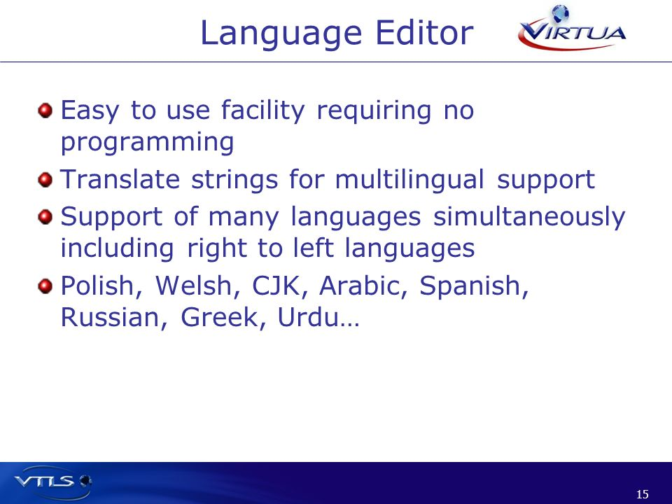 Language Editor Easy to use facility requiring no programming