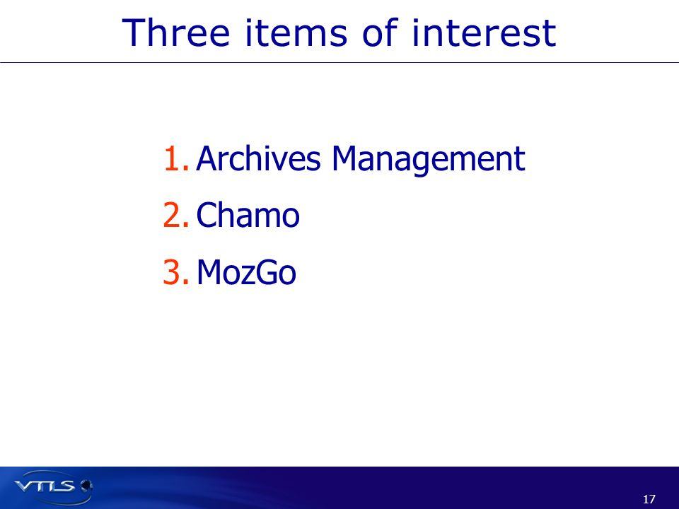 Three items of interest