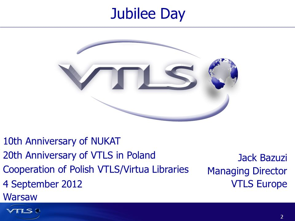 Jubilee Day 10th Anniversary of NUKAT 20th Anniversary of VTLS in Poland Cooperation of Polish VTLS/Virtua Libraries.