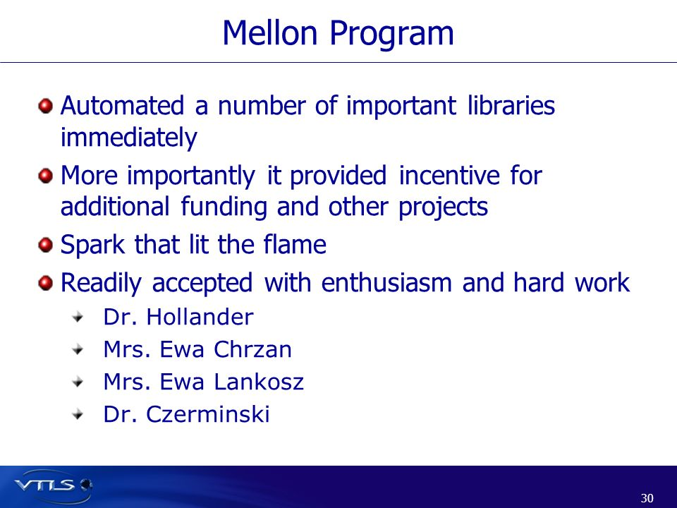 Mellon Program Automated a number of important libraries immediately