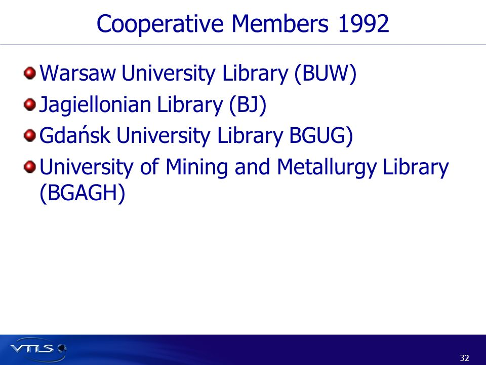 Cooperative Members 1992 Warsaw University Library (BUW)