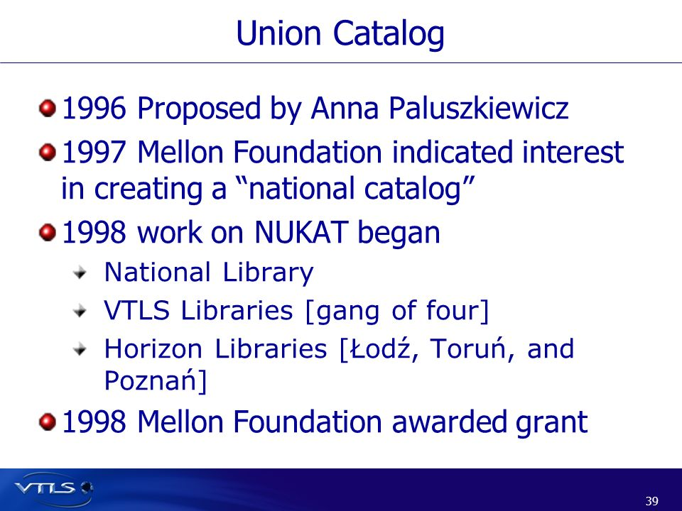 Union Catalog 1996 Proposed by Anna Paluszkiewicz