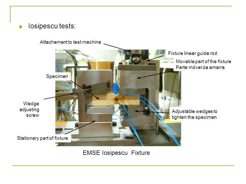 Iosipescu tests: EMSE Iosipescu Fixture Attachement to test machine