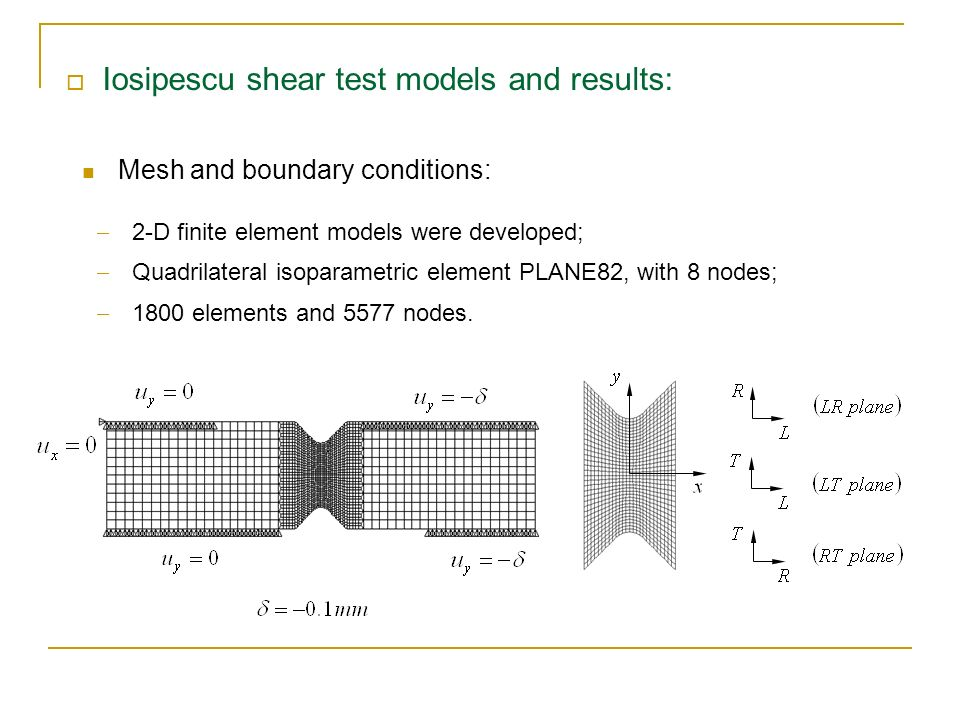 Iosipescu shear test models and results: