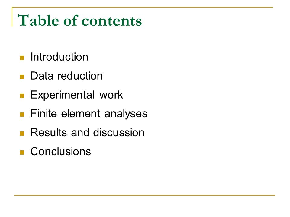 Table of contents Introduction Data reduction Experimental work