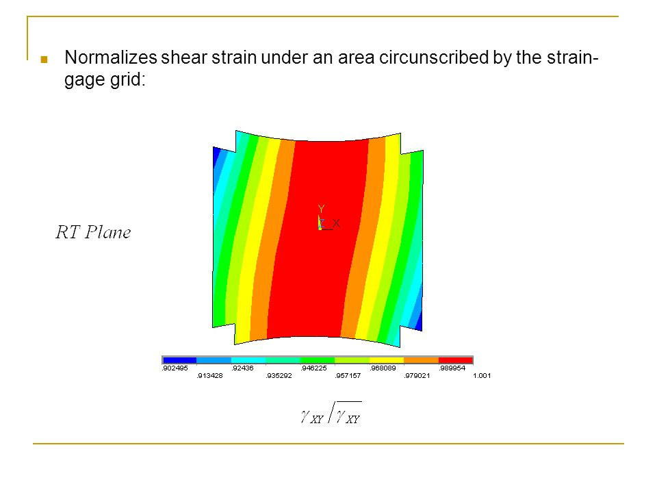 Normalizes shear strain under an area circunscribed by the strain-gage grid: