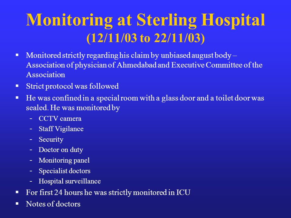 Monitoring at Sterling Hospital (12/11/03 to 22/11/03)