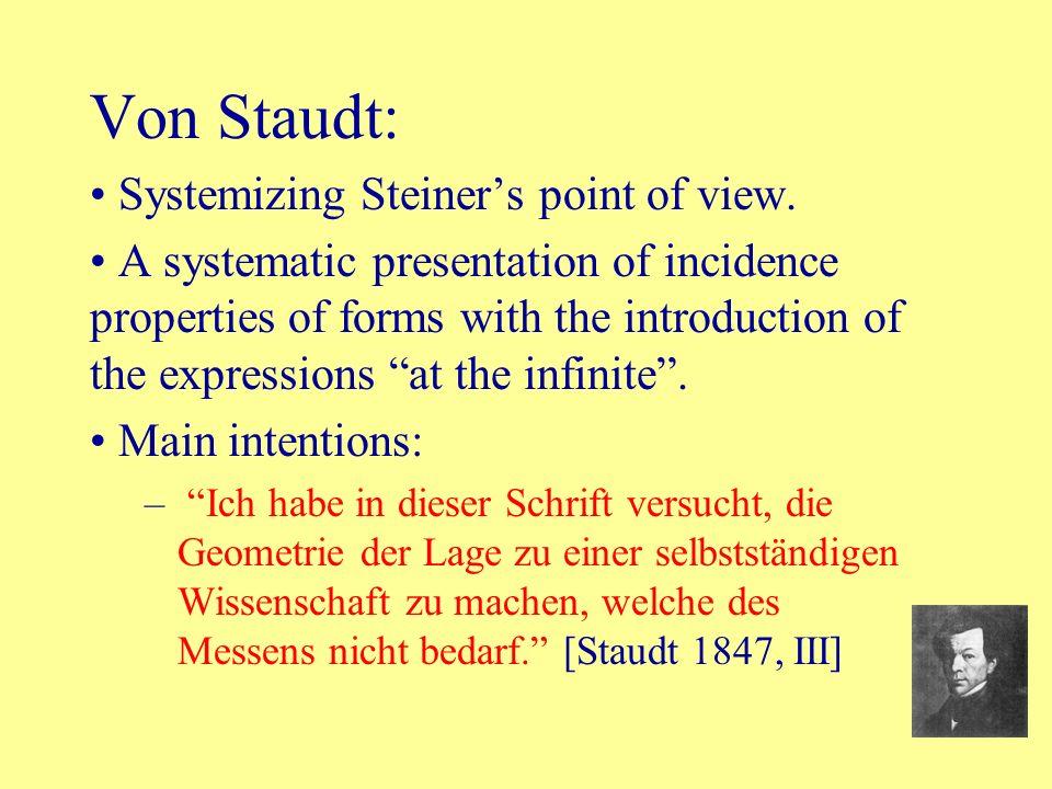Von Staudt: Systemizing Steiner's point of view.